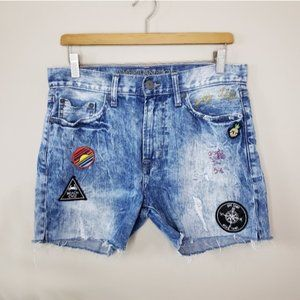 American Eagle | Faded Patched Embroidered Shorts
